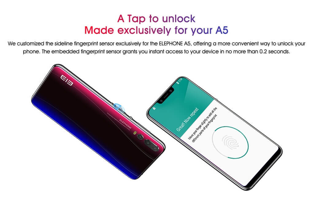 Elephone A5の指紋認証