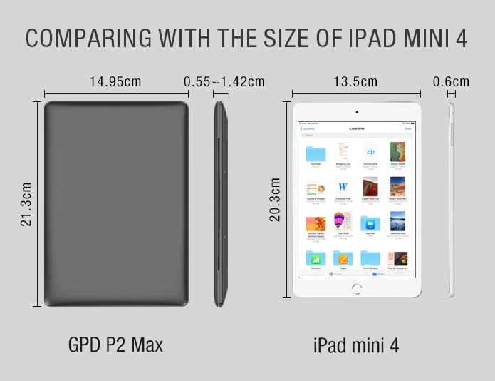 GPD P2 Maxと iPad mini 4の大きさ比較