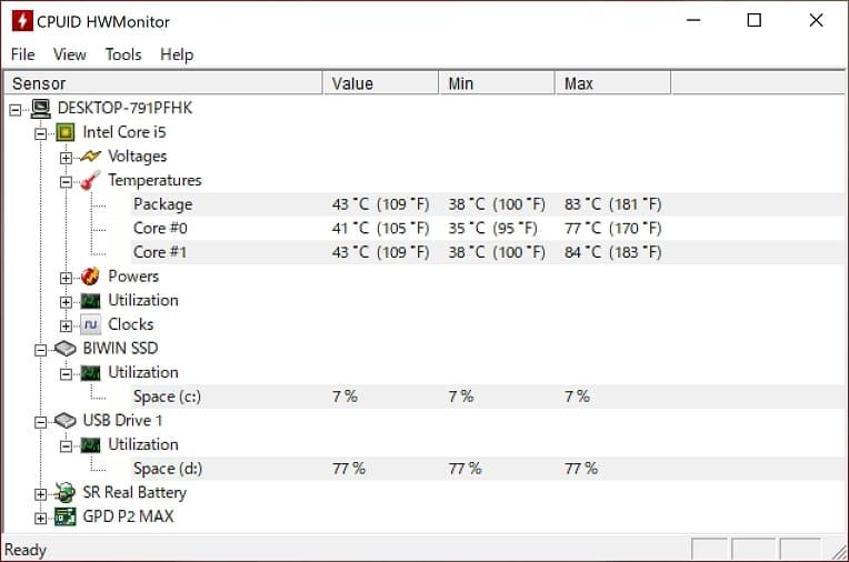 GPD P2 Max の本体温度