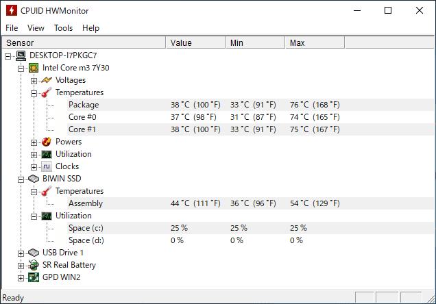 GPD WIN2 2019年最新版 CPU温度