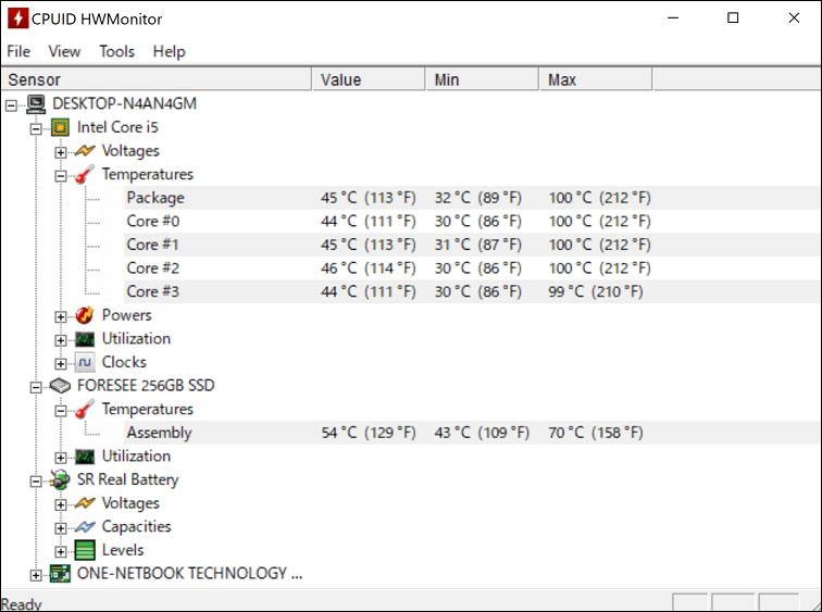 OneMix 3Pro CPU温度