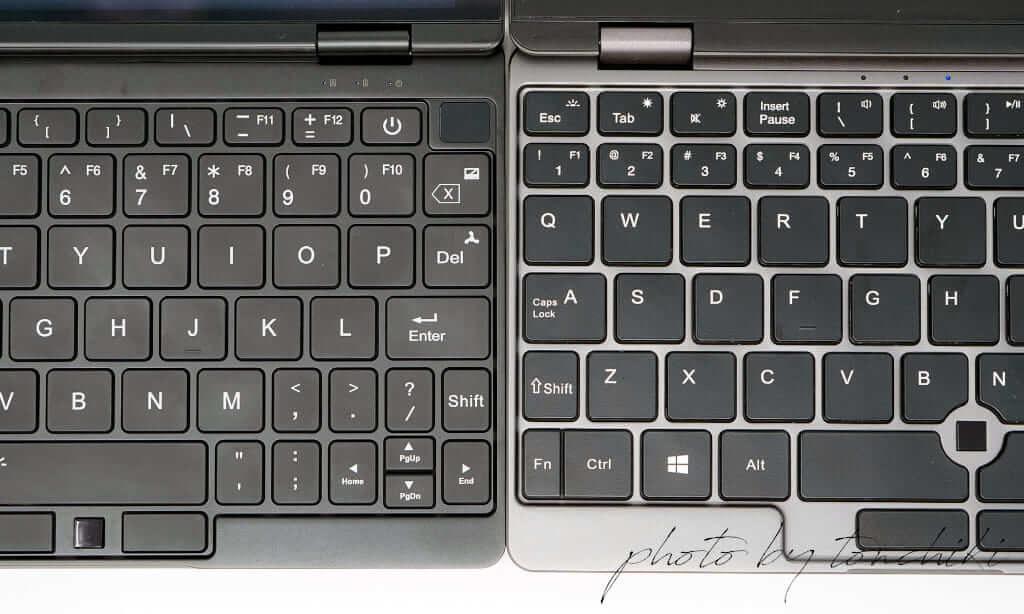 OneMix 3Pro vs CHUWI MiniBook キーボード