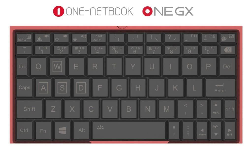 OneGX ゲーミングUMPC キーボードレイアウト