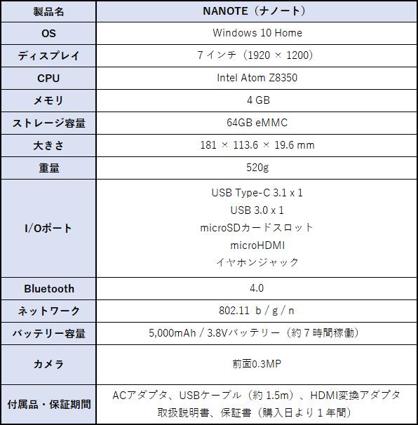 NANOTE(ナノート) スペック