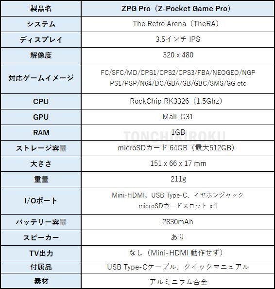 ZPG PRO(Z-Pocket Game Pro) スペック