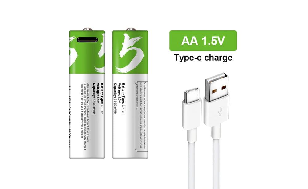 USB Type-C 充電式リチウム電池
